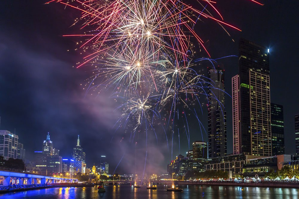 New Years Eve of Fireworks on Yarra River Cruises Melbourne