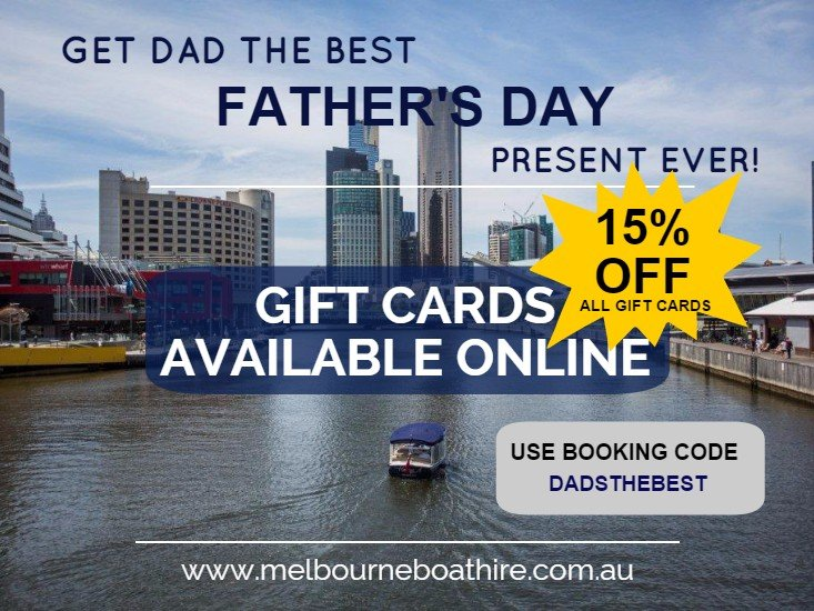 Melbourne Boat Hire - 15% off all gift cards valid until 7th September