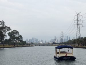 luxury private boat charter with skipper, on the Maribyrnong River, in Melbourne