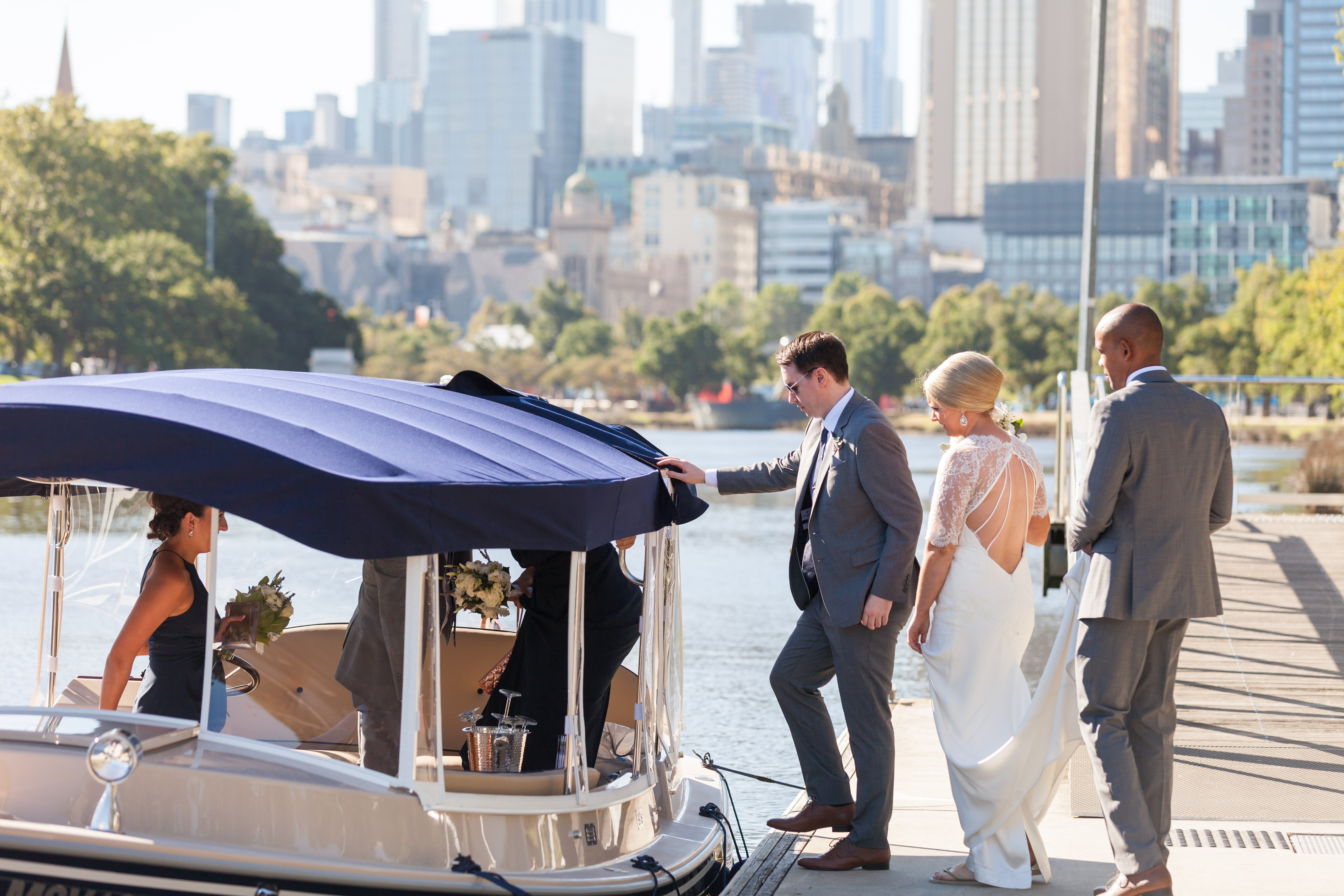 brides, bridal parties- enjoy a wedding transfer on a boat cruising the Yarra River in Melbourne