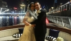 bridal couple on the deck of a boat after their wedding on the water in Melbourne