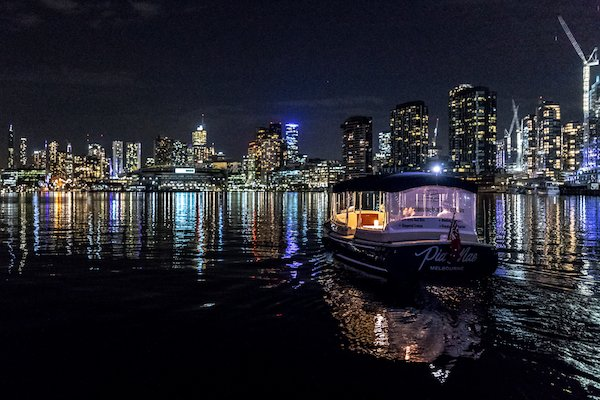 city views and reflection on private dinner cruise