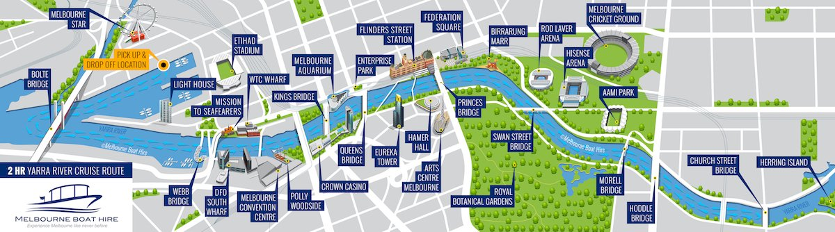 map of touring routes for yarra river skippered cruises