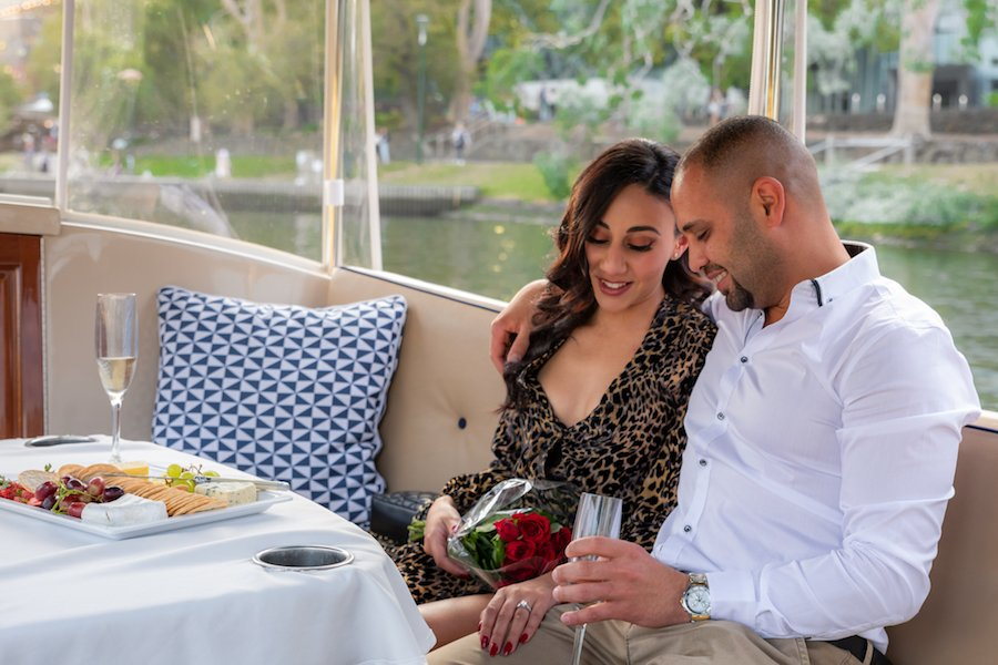 melbourne couple enjoys a romantic dinner cruise onboard a luxury boat