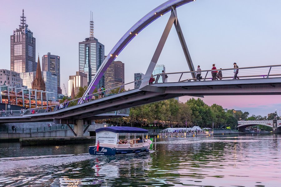 take a private dinner cruise at twilight, on the Yarra River