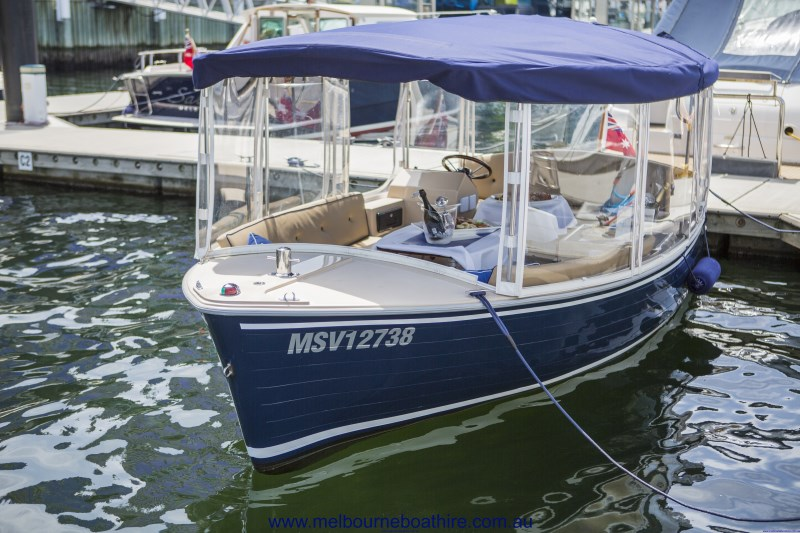 Enclosed canopy cruise boat, for hire in Melbourne