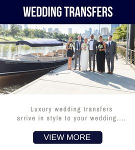 skippered boat transfers for brides and wedding parties, bridal couples in Melbourne